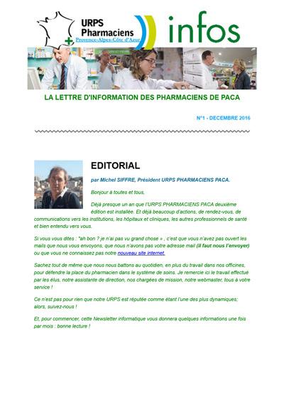 Newsletter N°1 – Décembre 2016