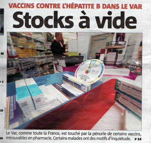 Vaccins contre l'hépatite B dans le VAR : stocks à vide