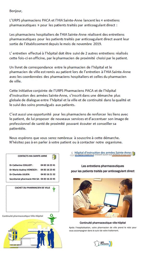 Début Des Entretiens Pharmaceutiques Pour Les Patients Sous AOD à L'HIA Sainte-Anne
